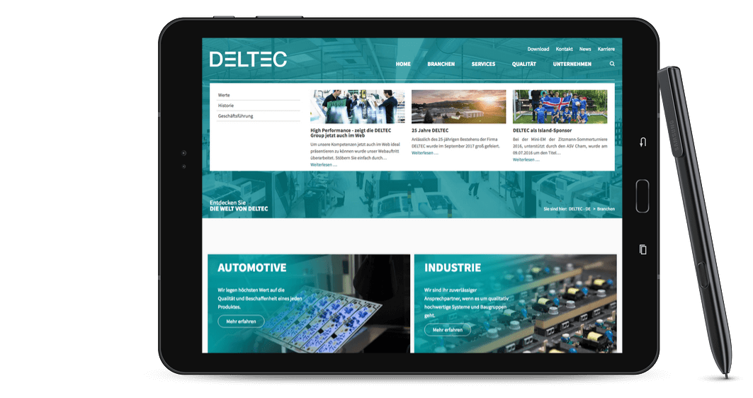 Ansicht der deltecgroup.com-Website in einem MacBook